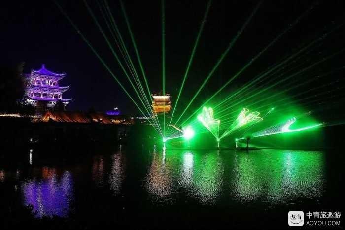 夜幕下的安庆五千年文博园 是一番怎样的光景